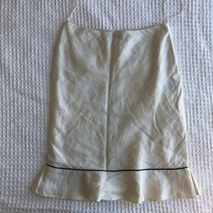 Ralph Lauren White Linen Skirt w/ Navy Piping